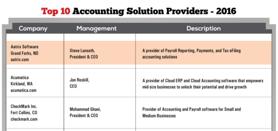 CFO Tech Outlook Top 10 Accounting Solution Providers