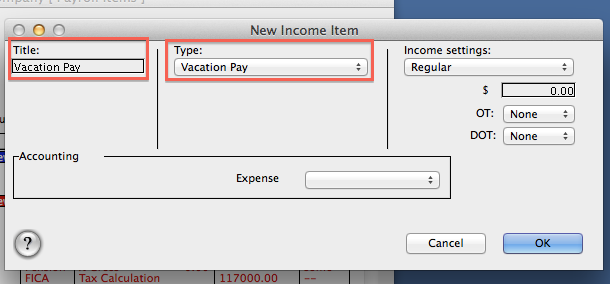 FAQ: How do I set up Vacation/Sick/Personal/Holiday Pay Income Item?