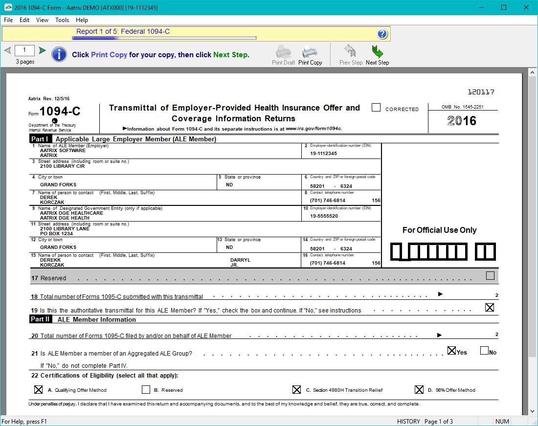 Aatrix 1095 c efiling process aatrix aca preparer form viewer falaconquin