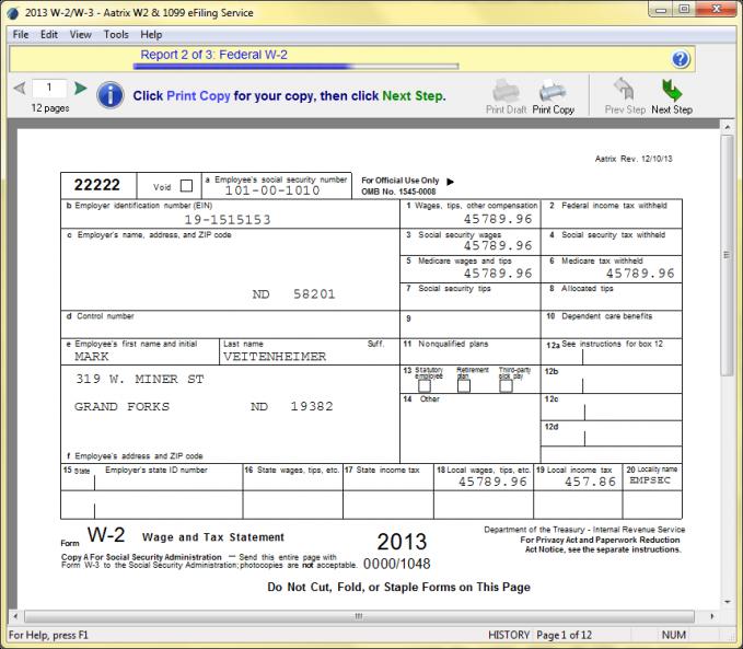 Aatrix :: W-2 Initial Filings (Windows OS)