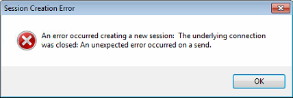 Session creation error message box.