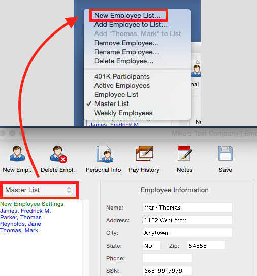 aatrix creating and maintaining your own employee list