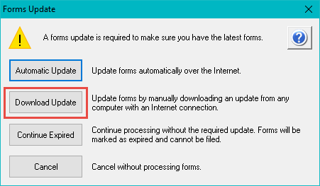 Forms Update screen giving options including Download Upadte