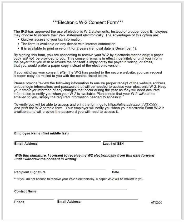 Example of a W-2 Electronic Filing Consent Form