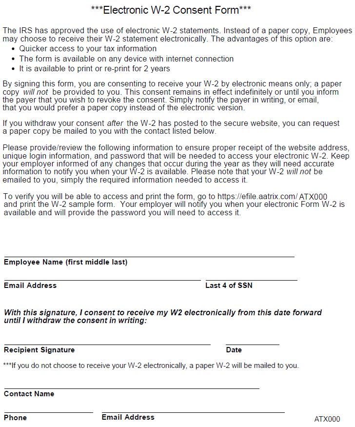 Aatrix Ew 2e1099 Consent Form