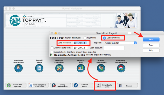 Learn how to link and post liability payments to Quickbooks.